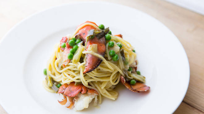 Spaghetti with lobster, spring onions and sorrel at Barchetta