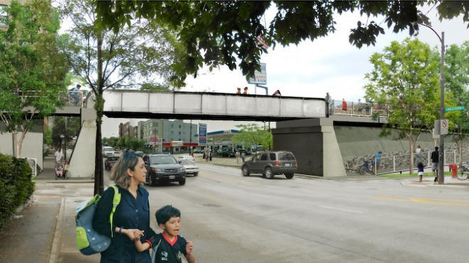 A rendering of the updated, wider bridge at Western Ave.