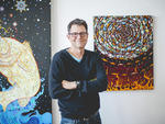 Fred Tomaselli in his Brooklyn studio