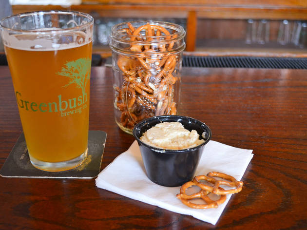 Cheese dip and beer are available at Sawyer's Greenbush Brewing Co.