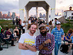 Subway Sets guests enjoy an evening at Brooklyn Grange Rooftop Farm.