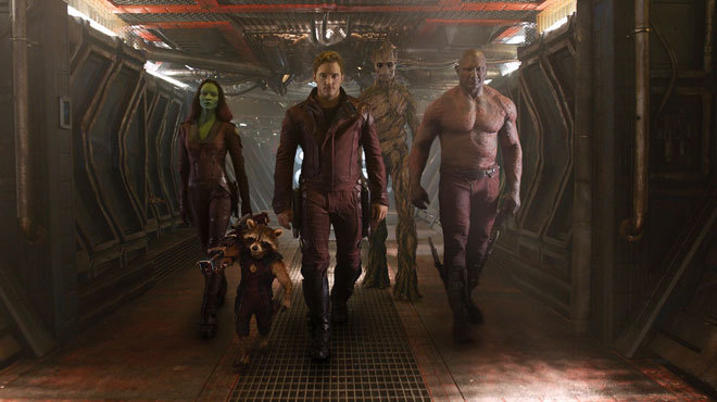 The galactic superheroes of the Guardians of the Galaxy strut through their spaceship