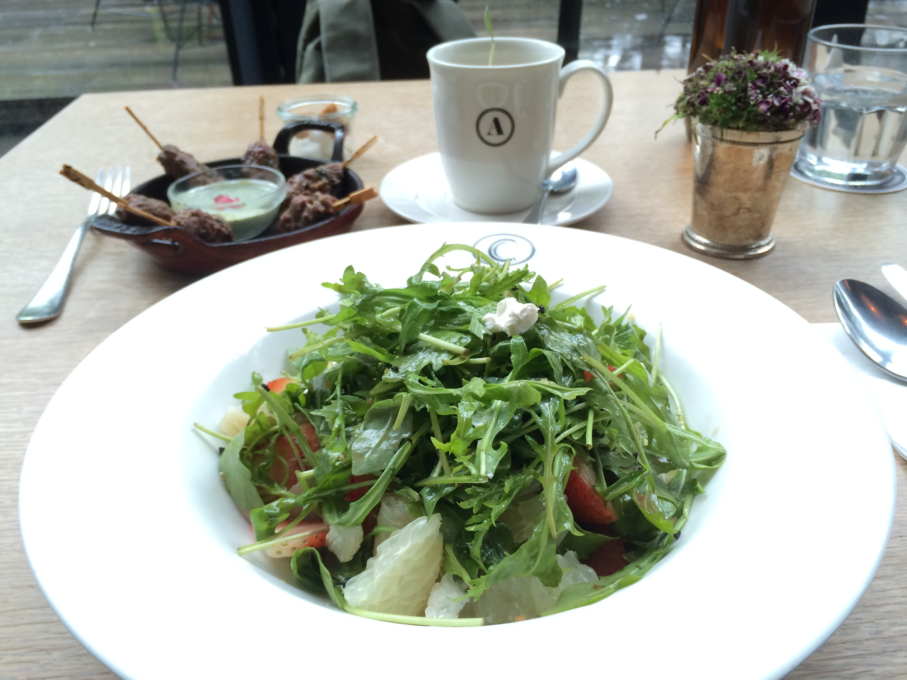 Acme strawberry, pomelo and rocket salad