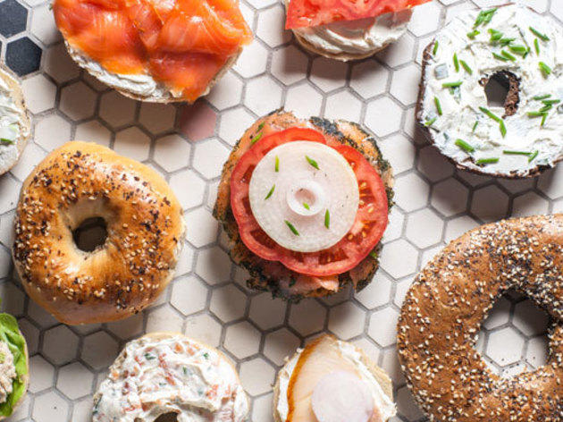 Assorted bagels at Baz Bagel