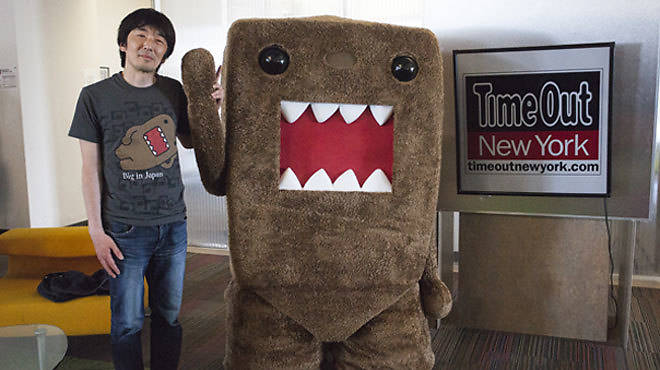 Tsuneo Goda and Domo visit <em>Time Out New York</em>'s office