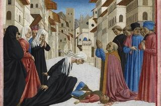 Domenico Veneziano  ('Saint Zenobius Bishop of Florence restores to life a widow's son killed in Borgo degli Albizzi, Florence', about 1442-48)