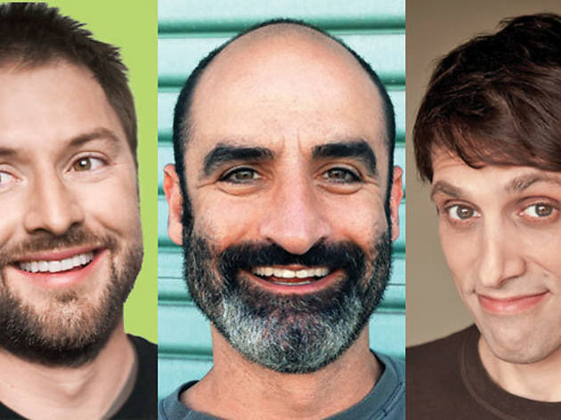 Adam Cayton-Holland (left), Brody Stevens, Howard Kremer