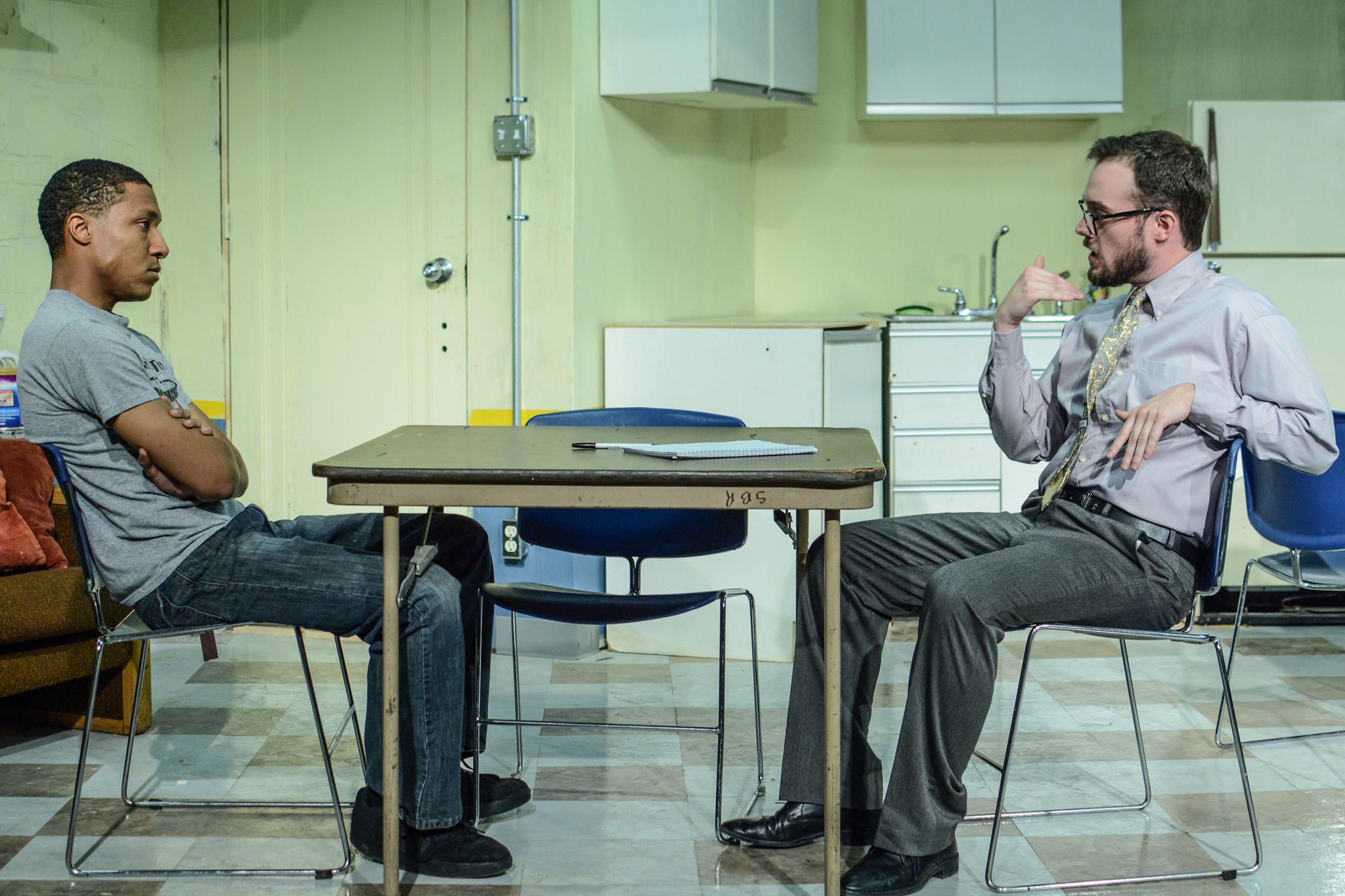 Jerry MacKinnon and Patrick Whalen in Exit Strategy at Jackalope Theatre Company