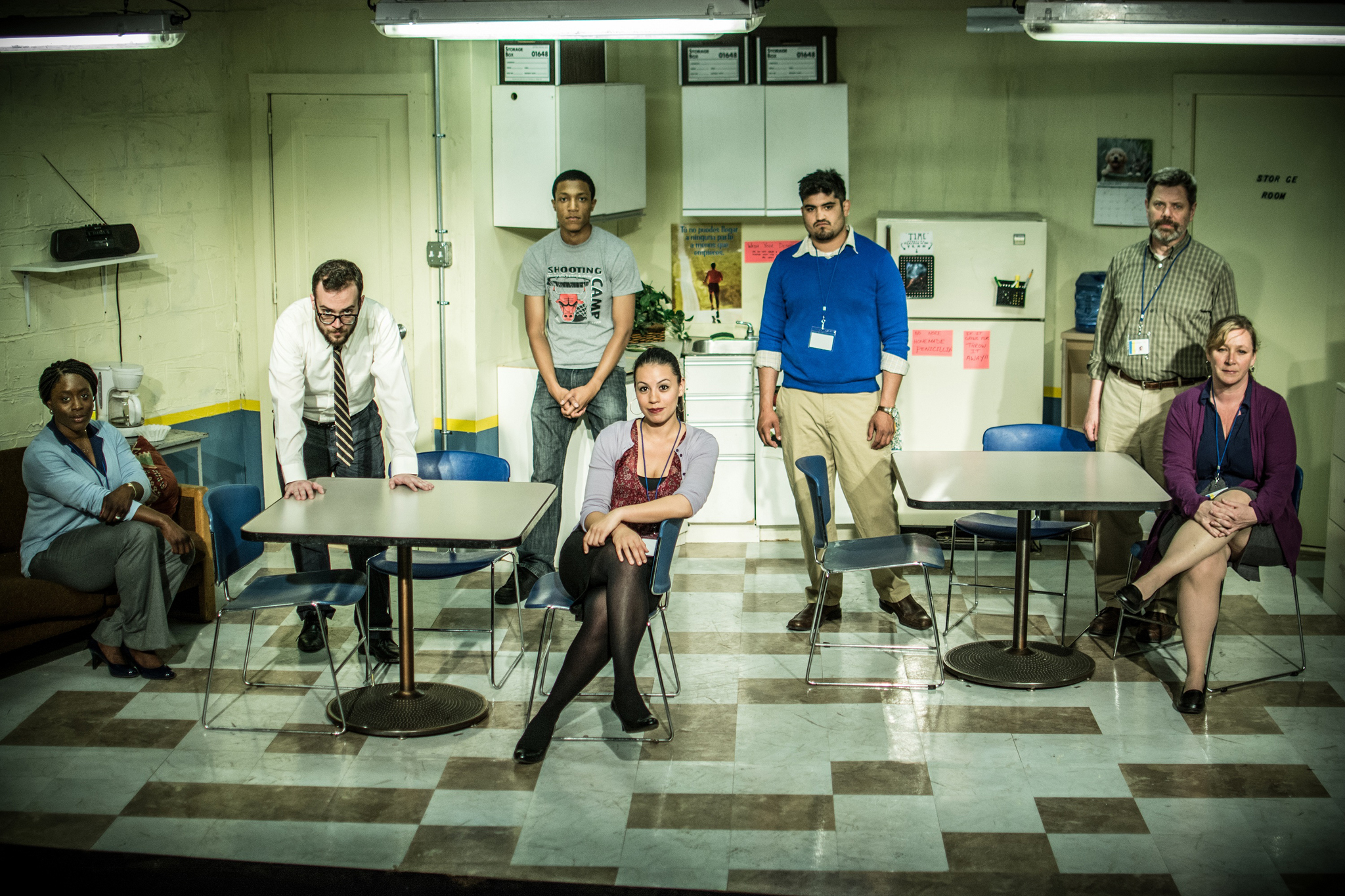 Lucy Sandy, Patrick Whalen, Jerry MacKinnon, Paloma Nozicka, Danny Martinez, HB Ward and Barbara Figgins in Exit Strategy at Jackalope Theatre Company
