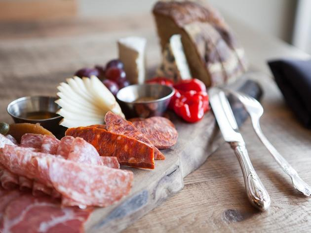 Cheese and charcuterie board at Luna Vine