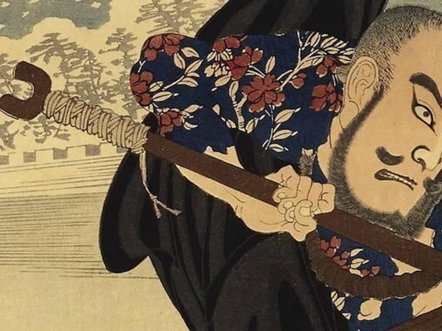 Triptypque d'estampes japonaises: duel