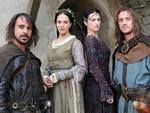 Emun Elliott as Guilhem du Mas, Jessica Brown Findlay as Alais Pelletier du Mas, Katie McGrath as Oriane and Tom Felton as Viscount Trencavel in Labyrinth
