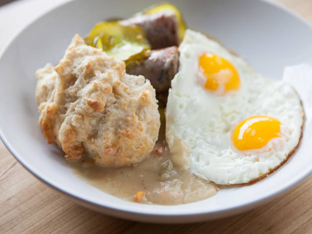 Biscuits and gravy, four ways