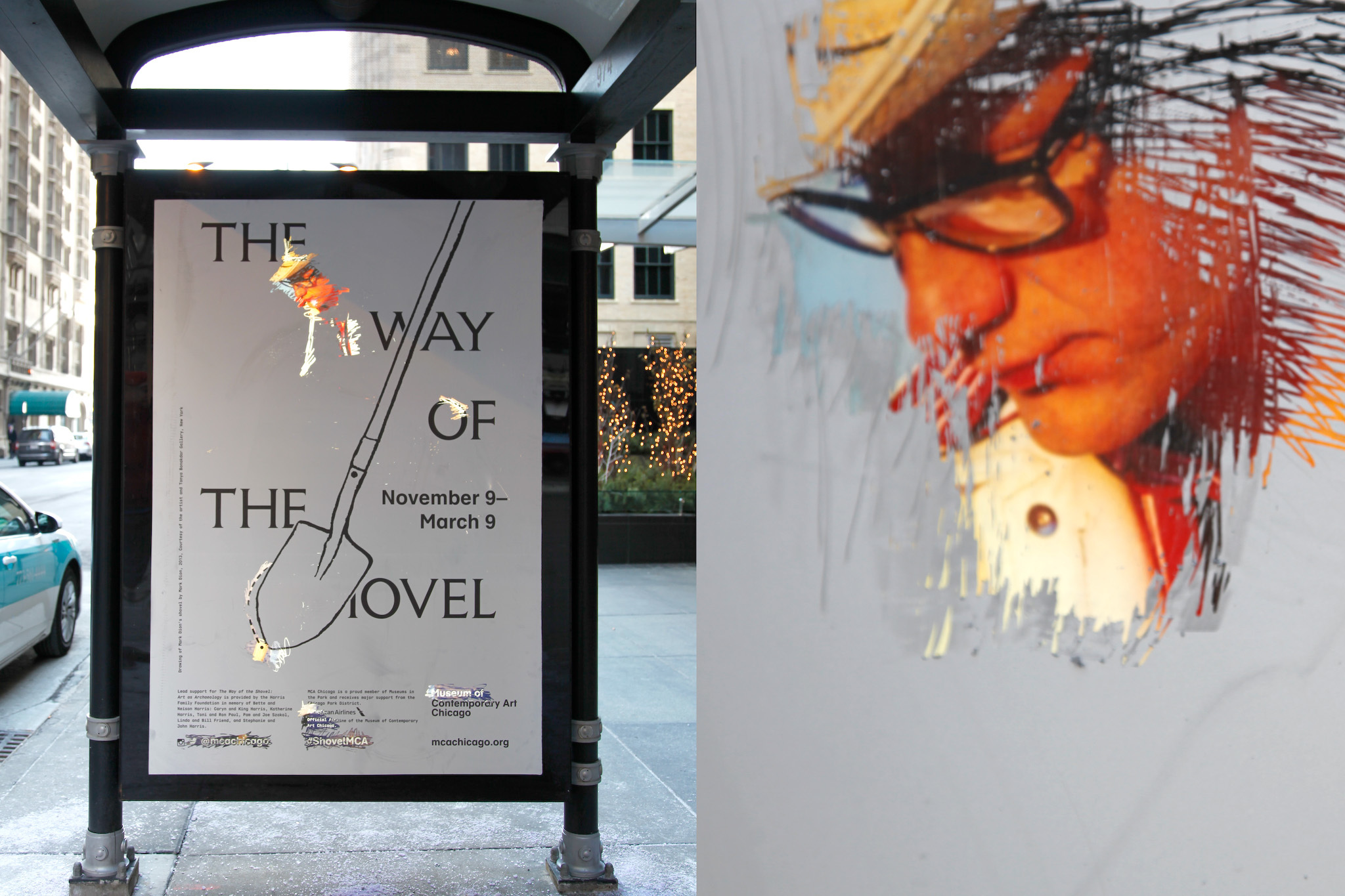 """The Way of the Shovel Scratch-off Poster"", Romain André and Michael Savona, shovel illustration on the top layer by Mark Dion, uncovered photograph by Tony Tasset"