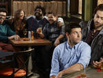 Rick Glassman as Burski, Bianca Kajlich as Leslie, Ron Funches as Shelly, David Fynn as Brett, Brent Morin as Justin Kearney and Chris D'Elia as Danny in Undateable