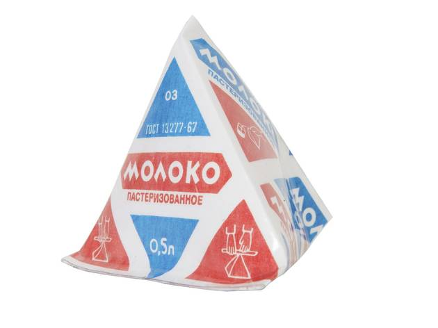 (Pyramid Packaging for Dairy Products, (2009 replica), produced from 1959, Courtesy GRAD and Moscow Design Museum)