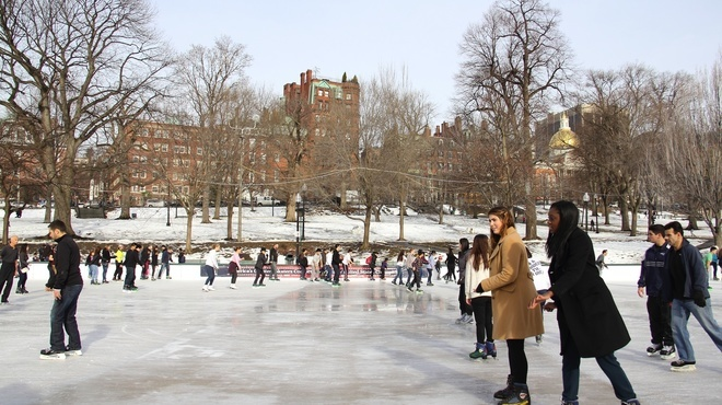 Go ice-skating on the Frog Pond