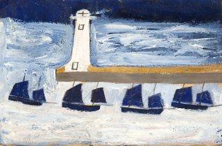 Alfred Wallis ('Four Luggers and a Lighthouse', 1928)