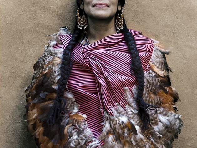 (Lila Downs, Grammy award-winning musician, wearing a rebozo de pluma from Ahuiran, Michoacan Antonio Turok, Summer 2013 Photograph © Antonio Turok)