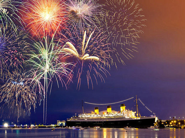 Image result for The Queen Mary in Long Beach fireworks