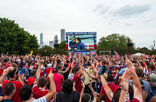 Supporters gather in Grant Park to cheer on the USA team at U.S. Soccer's World Cup viewing party.