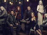 Tony Curran as Datak Tarr, Grant Bowler as Joshua Nolan, Stephanie Leonidas as Irisa, Graham Greene as Rafe McCawley, Julie Benz as Amanda Rosewater, Jaime Murray as Stahma Tarr and Jesse Rath as Alak Tarr in <em>Defiance</em>