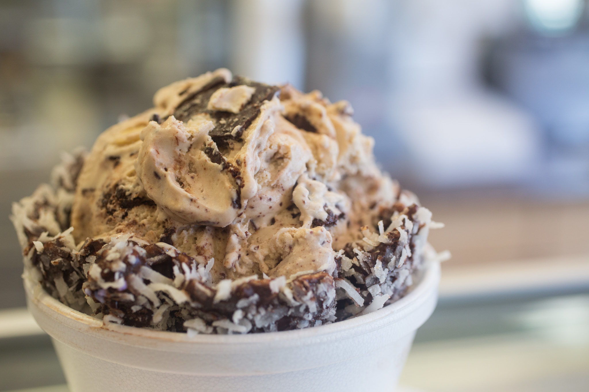 This just got serious (Salted Carmel sea salt fudge & cashews) at Scoops.