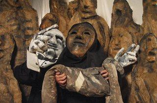 (The Bread and Puppet Theatre, Tableau of three puppets Photo © Jonathan Slaff)