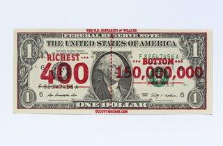 (Andy Dao and Ivan Cash, Occupy George overprinted dollar bill, 2011. Courtesy of Andy Dao and Ivan Cash)