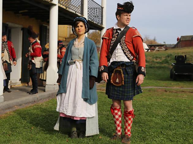 Amy Hoggart as Poppy Carlton and Ed Gamble as Georgie Carlton in <em>Almost Royal</em>