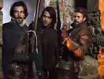Santiago Cabrera as Aramis, Luke Pasqualino as D'Artagnan and Howard Charles as Porthos in <em>The Musketeers</em>