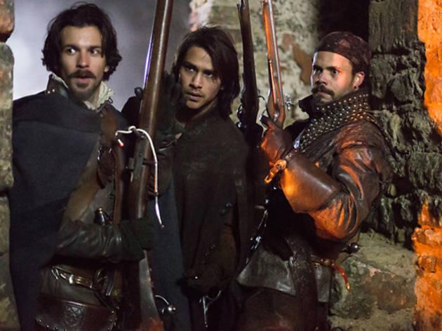 Santiago Cabrera as Aramis, Luke Pasqualino as D'Artagnan and Howard Charles as Porthos in <em>The Musketeers</em>