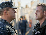 Adam Baldwin as XO Mike Slattery and Eric Dane as CO CDR Tom Chandler in <em>The Last Ship</em>