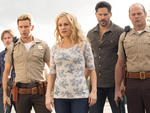 Sam Trammell as Sam Merlotte, Ryan Kwanten as Jason Stackhouse, Anna Paquin as Sookie Stackhouse, Joe Manganiello as Alcide Herveaux and Chris Bauer as Andy Bellefleur in True Blood