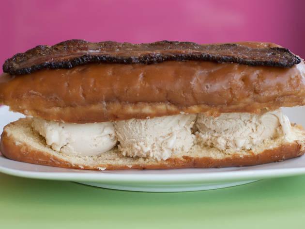 Maple bacon ice cream sandwich at black dog gelato.