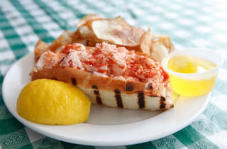 Lobster roll at New England Seafood Company Fish Market.