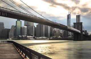 Someone put white flags on the Brooklyn Bridge