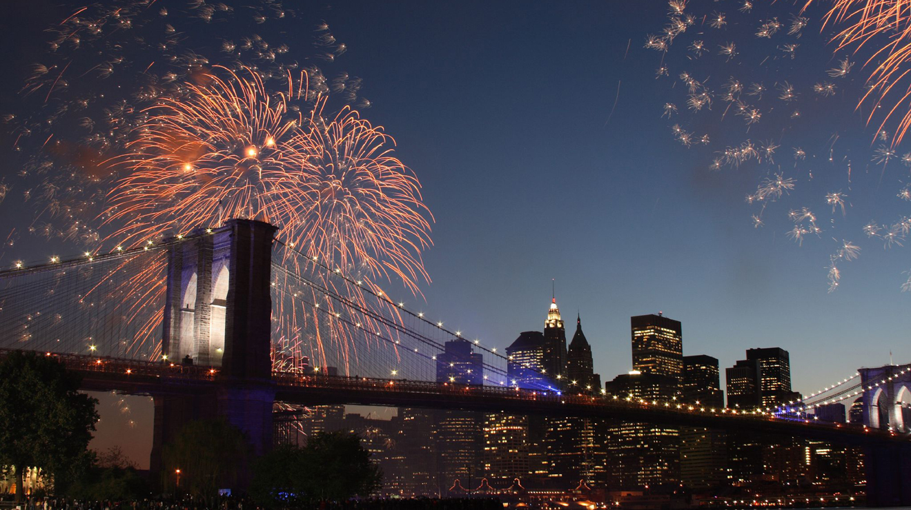 Fireworks over Brooklyn Bridge