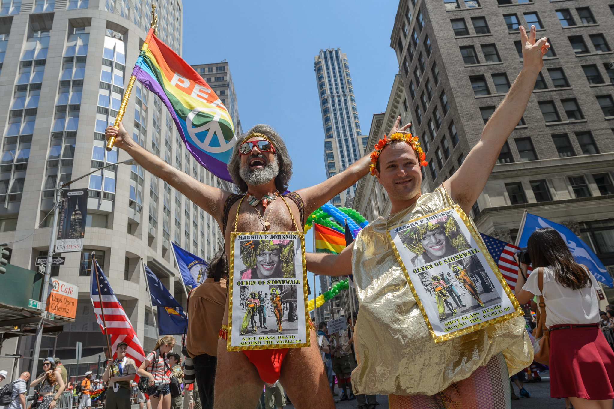 New Yorkers enjoy the Pride Parade on June 29, 2014