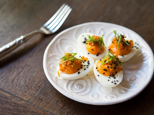 Jidori deviled eggs at Faith & Flower