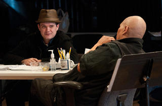 Mat Smart and Ron OJ Parson in rehearsal for Steppenwolf's Samuel J. and K.