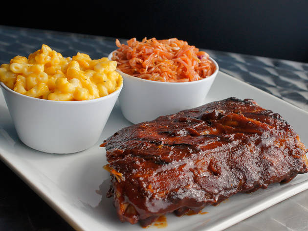 Baby back ribs, cornbread, spicy slaw, and mac & cheese at The Hungry Pig
