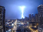 Lightning bolts ignite the Chicago skyline during the wild derecho storm of June 30, 2014.