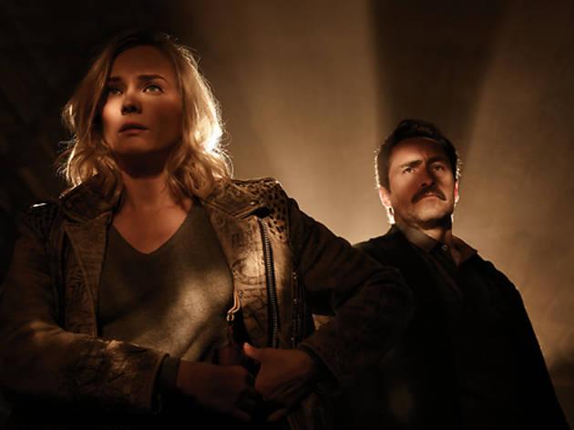 Diane Kruger as Sonya Cross and Demian Bichir as Marco Ruiz in <em>The Bridge</em>