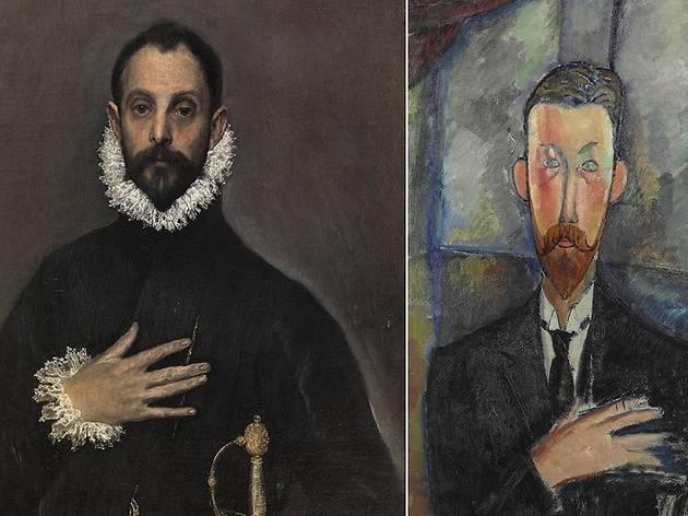 'El caballero de la mano en el pecho', El Greco (izqda.); 'Paul Alexandre ante una vidriera', Modigliani (dcha.)