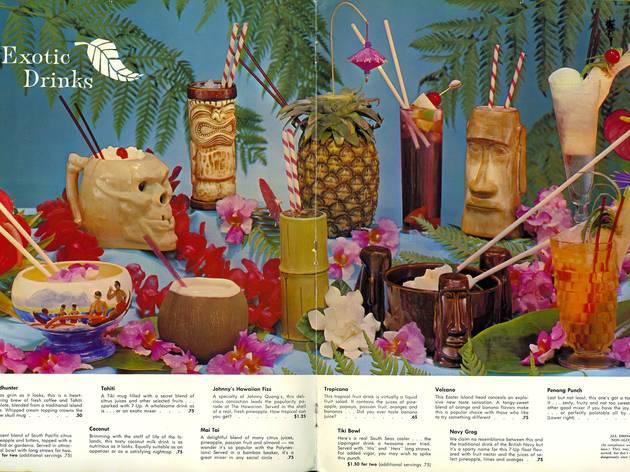 (Carte de cocktails polynésiens et ses mugs, début des années 1960 / ©D.R.)