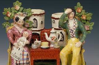(Staffordshire 'Tea Total' piece in Ceramics Hall © Victoria and Albert Museum, London)