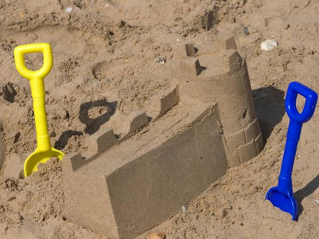 sandcastles, sand pit