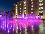Granary Square fountains at night