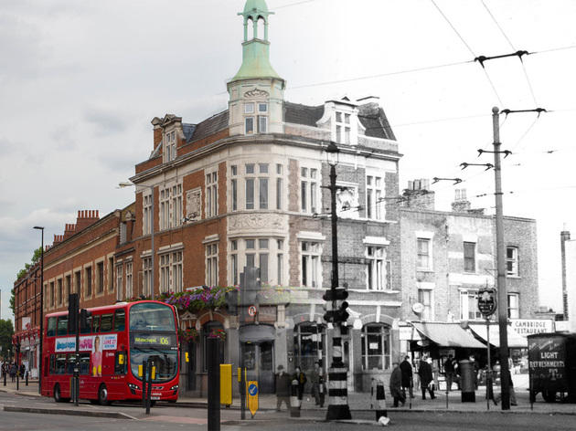 White Hart pub in east London, then and now